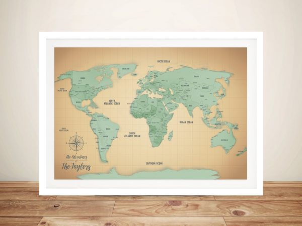 Personalized Sand & Teal Push Pin Travel Map