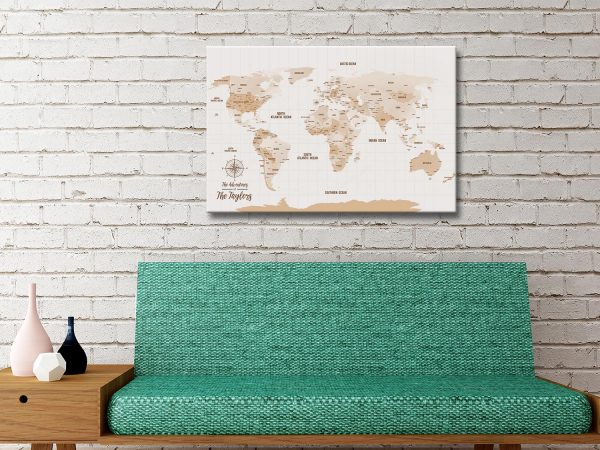 Light Brown World Map Gift Idea