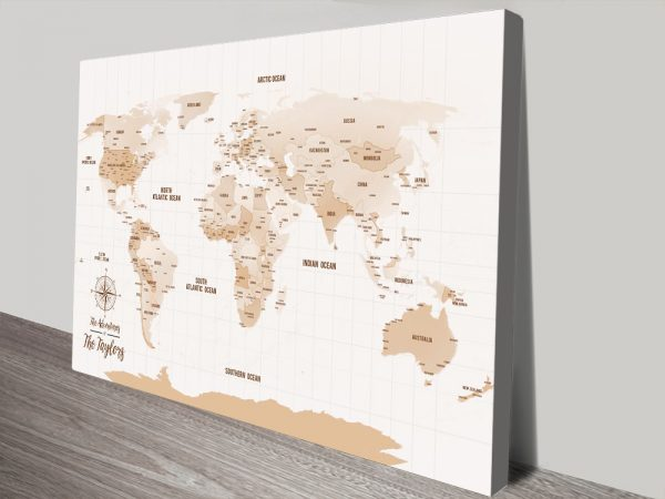 Personalized Mocha Tones Pushpin Travel Map