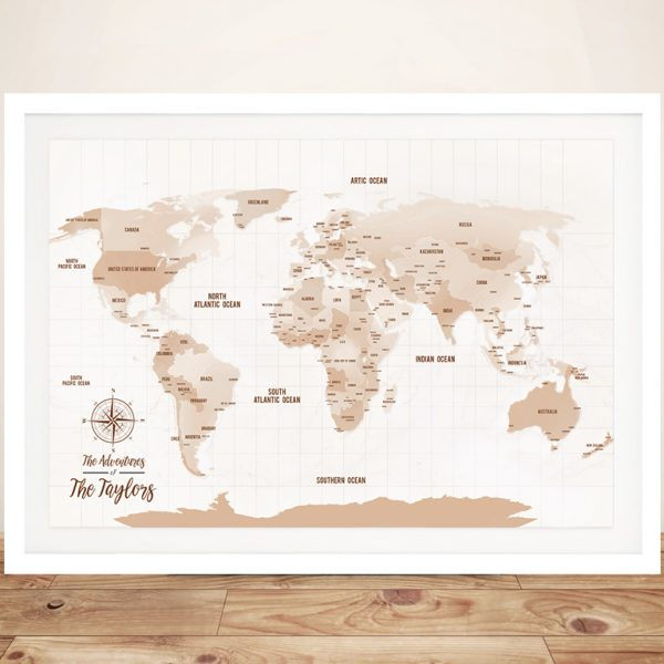 Light Brown Shades World Map Framed Wall Art Pinboard