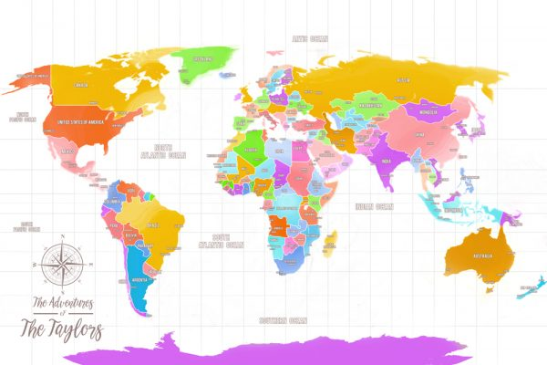 Multi Coloured World Map Pinboard Art