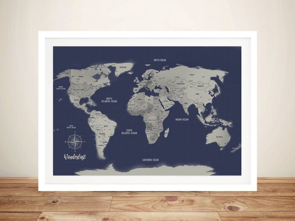 Navy Blue World Map Framed Custom Wall Art