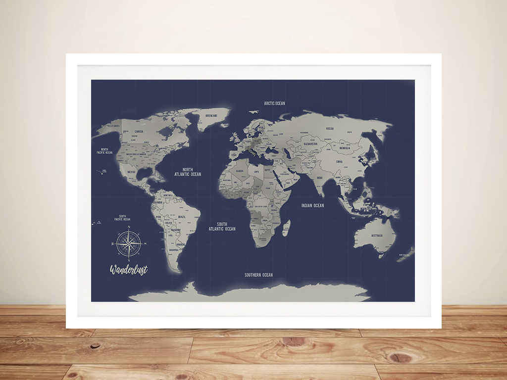 World Map Framed Wall Art.Personalized Blue Silver Push Pin Travel Map Framed Wall Art Prints