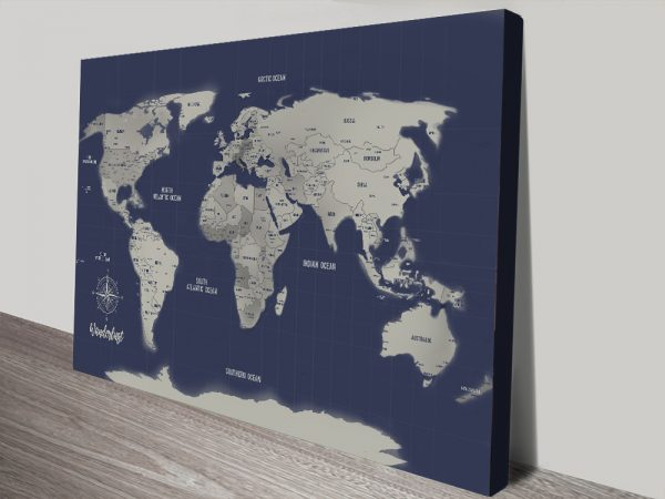 Navy Blue World Map with Pins Corkboard