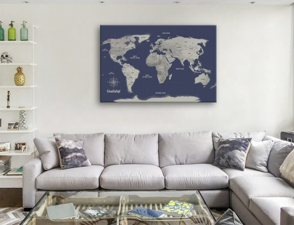 Push Pin Navy Blue World Map canvas print