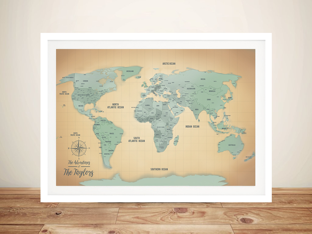 Personalized Sand & Teal Push Pin Travel Map Framed Wall Art Prints