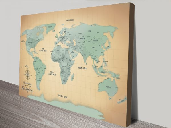 Personalized Sand & Teal Push Pin Travel Map Canvas Art