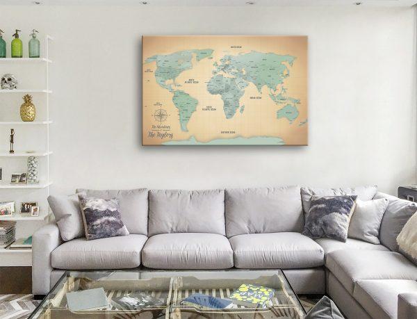 Light Blue and Gold Custom Map Art