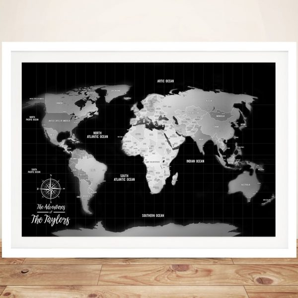Push Pin Silver World Map Framed Wall Art
