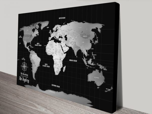 Black & Silver Personalized Travel Map Canvas Wall Art