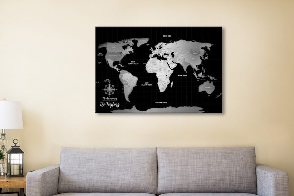 Silver World Map with Destination Pins