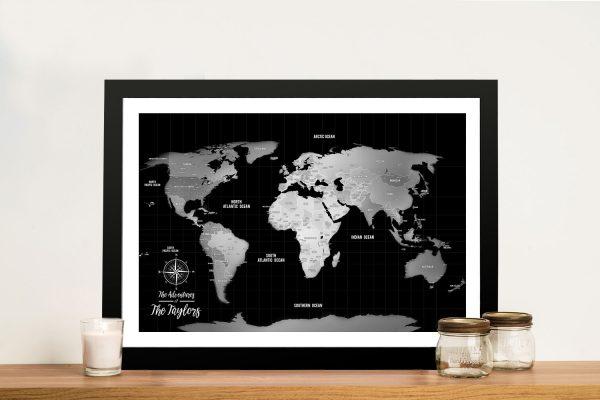 Push Pin Silver World Map Framed Wall Art