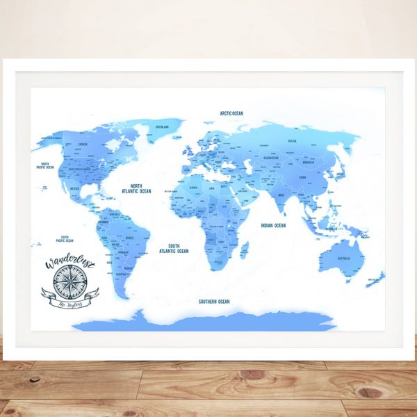 Sky Blue Personalised Push Pin Travel MapSky Blue Personalised Push Pin Travel Map