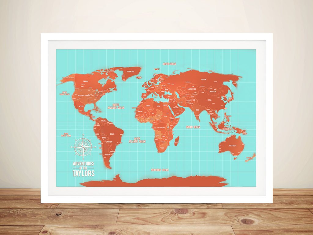 Personalised Turquoise and Orange Map