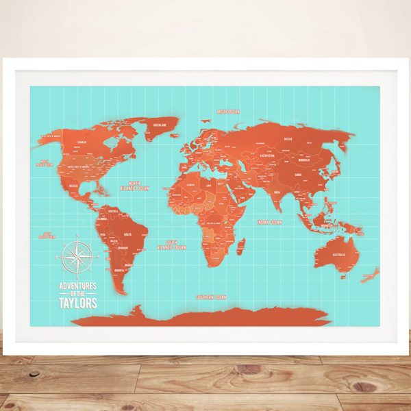Turquoise And Orange World Map Wall Art Canvas