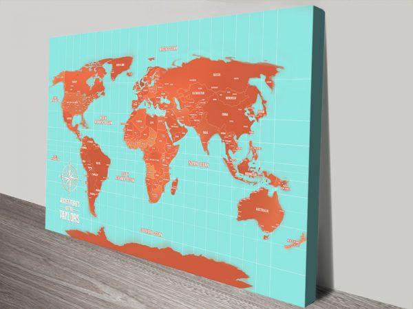 Turquoise And Orange World Map canvas print