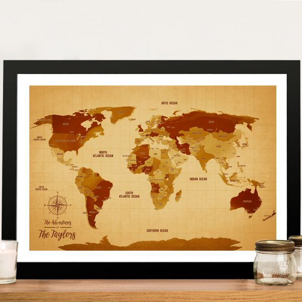 Vintage World Map Push Pin Wall Art with Custom Words