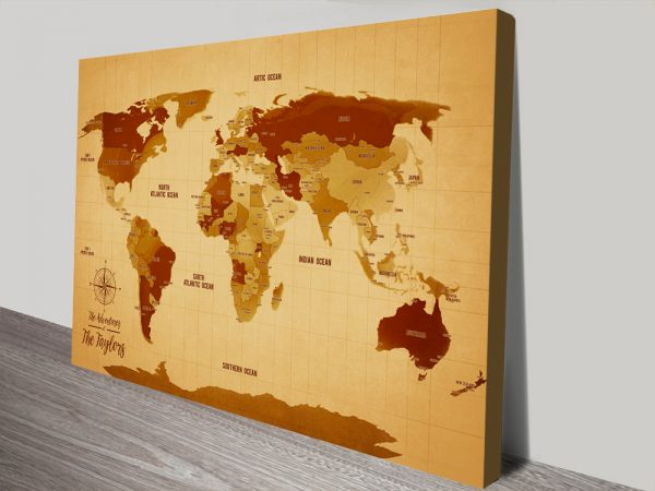 Vintage Push Pin World Map canvas print with Words