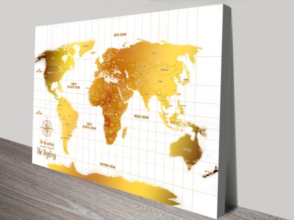 White And Gold Push Pin Personalized World Map Canvas Art