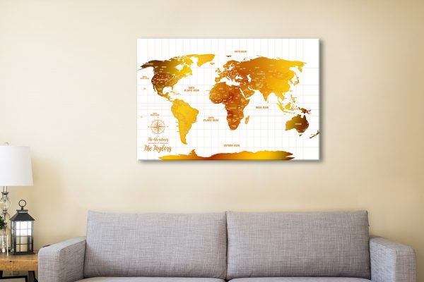 White And Gold Pinboard World Map