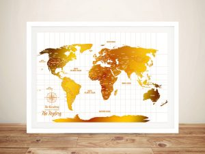 White And Gold Push Pin World Map