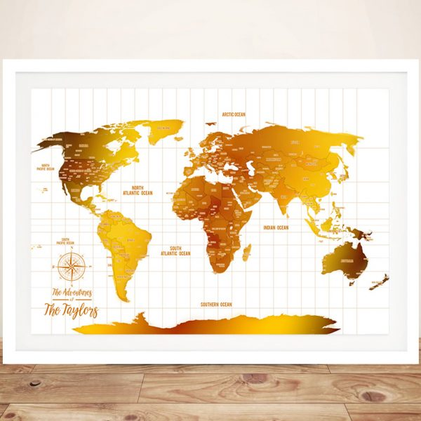 White And Gold Framed World Map with Pins
