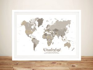 Bronzed Personalised Travel Map
