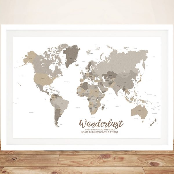 Bronzed Personalised Travel Map Art