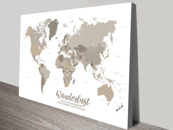 Bronze World Map Art Canvas