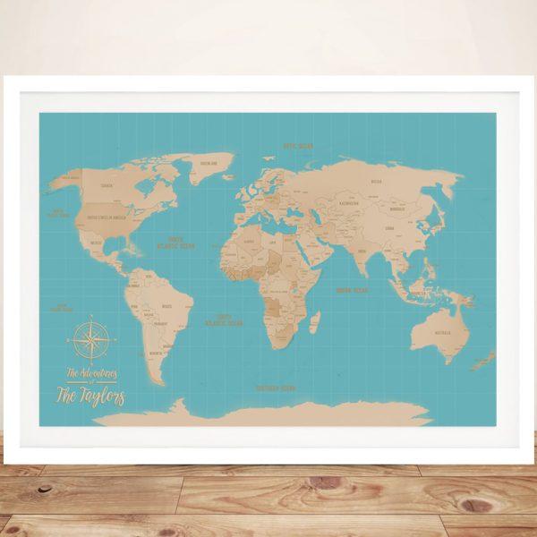 Custom Blue Sands Push Pin Travel Map Framed Wall Picture Gift