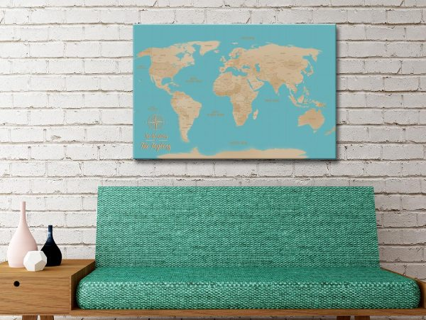 Yellow And Blue custom map art gift