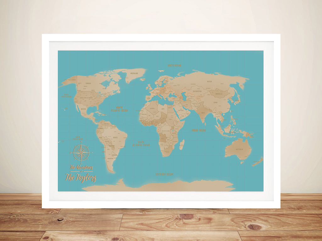 Personalized Blue & Silver Push Pin Travel Map Framed Wall Art Prints