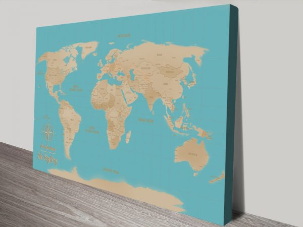 Yellow And Blue custom map canvas print