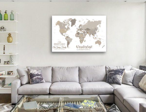 bronze watercolour pin map Canvas Artwork