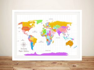 Multi-Coloured Personalized World Map