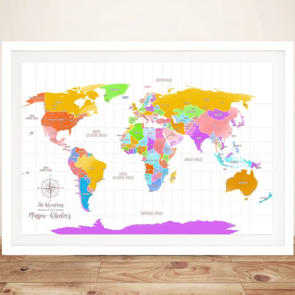 Multi-Coloured Push Pin Personalized World Map