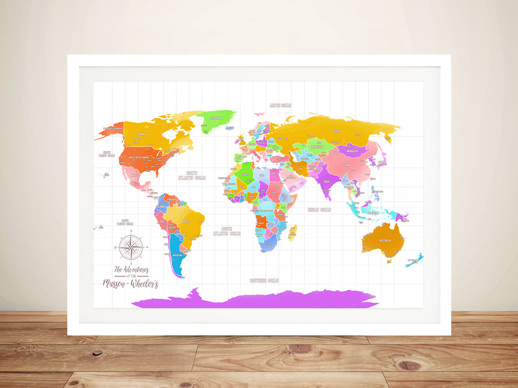 Multi-Coloured Push Pin Personalized World Map Canvas Wall Art on