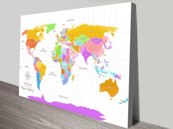 Multi-Coloured Push Pin Personalised World Map Canvas Wall Art