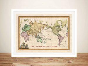 Old World Vintage Travel Map