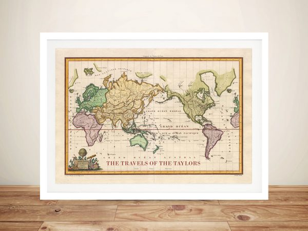 Personalized Old World Vintage Travel Map with Pins Corkboard Picture