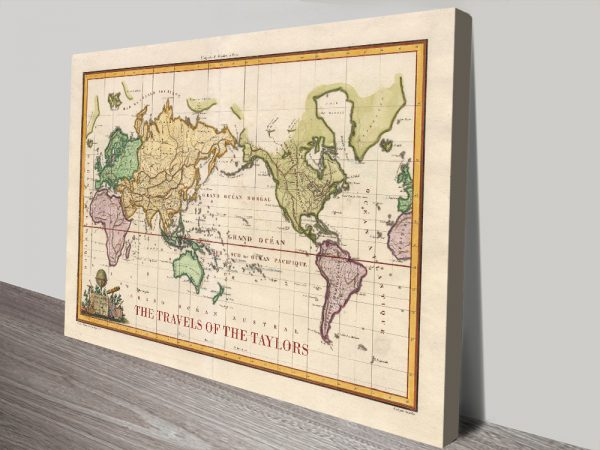 Personalized Old World Vintage Travel Map with Pins Canvas