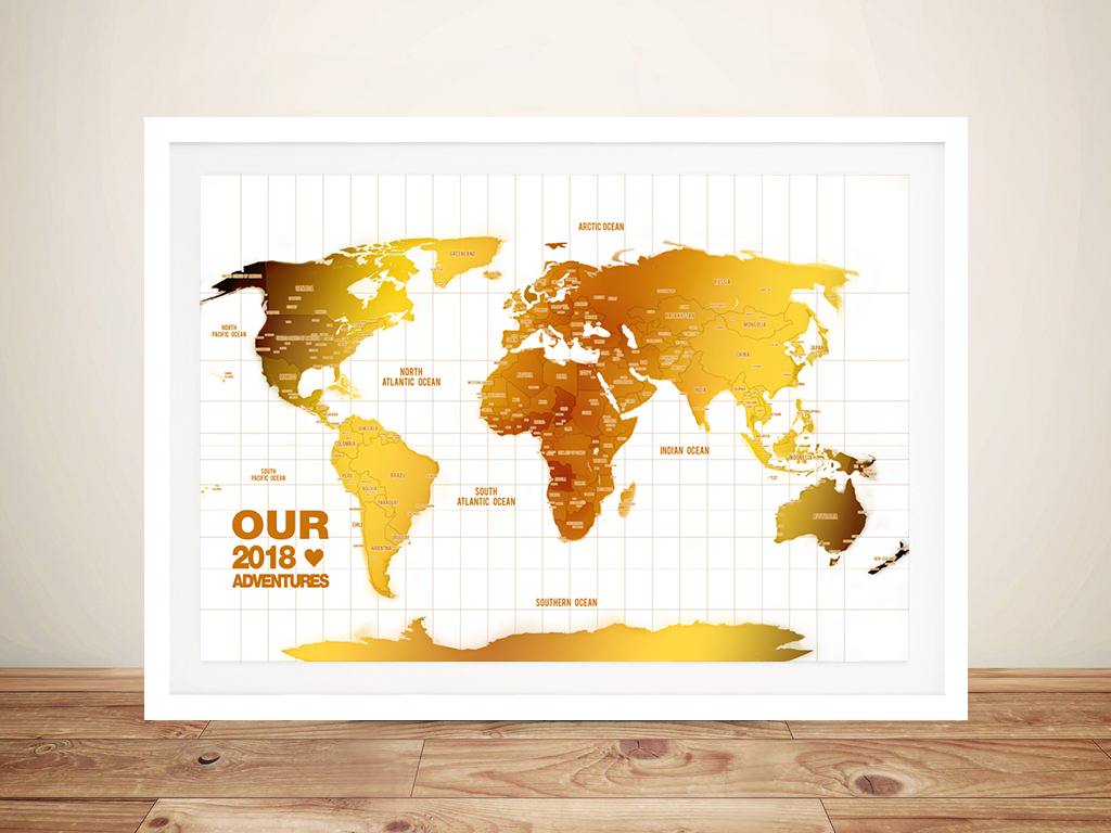 White And Gold Push Pin Personalized World Map Canvas Wall Art Usa