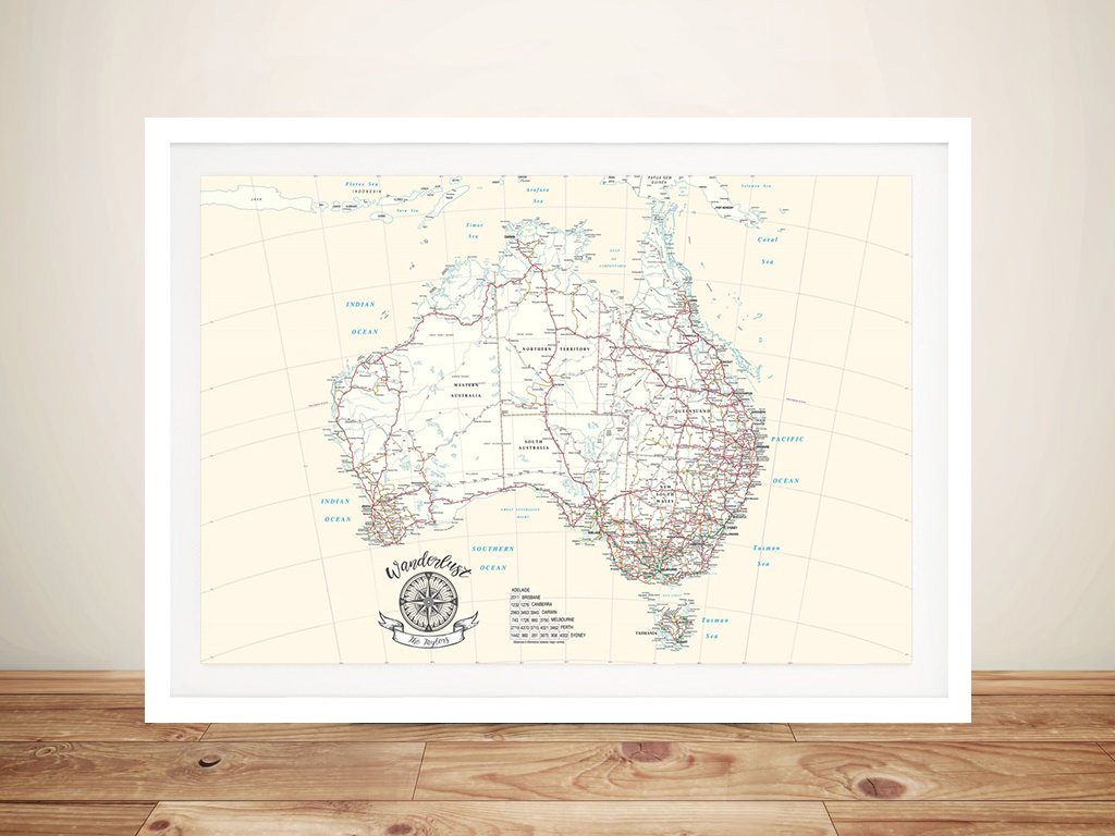Australia Rectangle Cream Push Pin Map