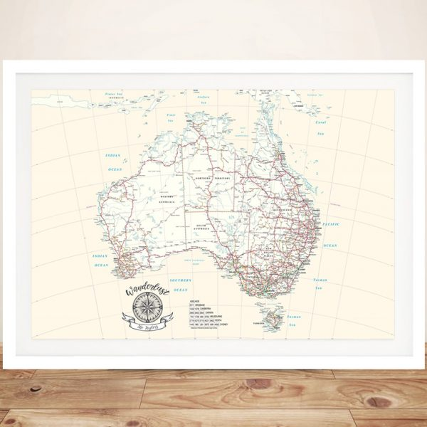 Personalized Australia Rectangle Cream Push Pin Map Wall Art Canvas