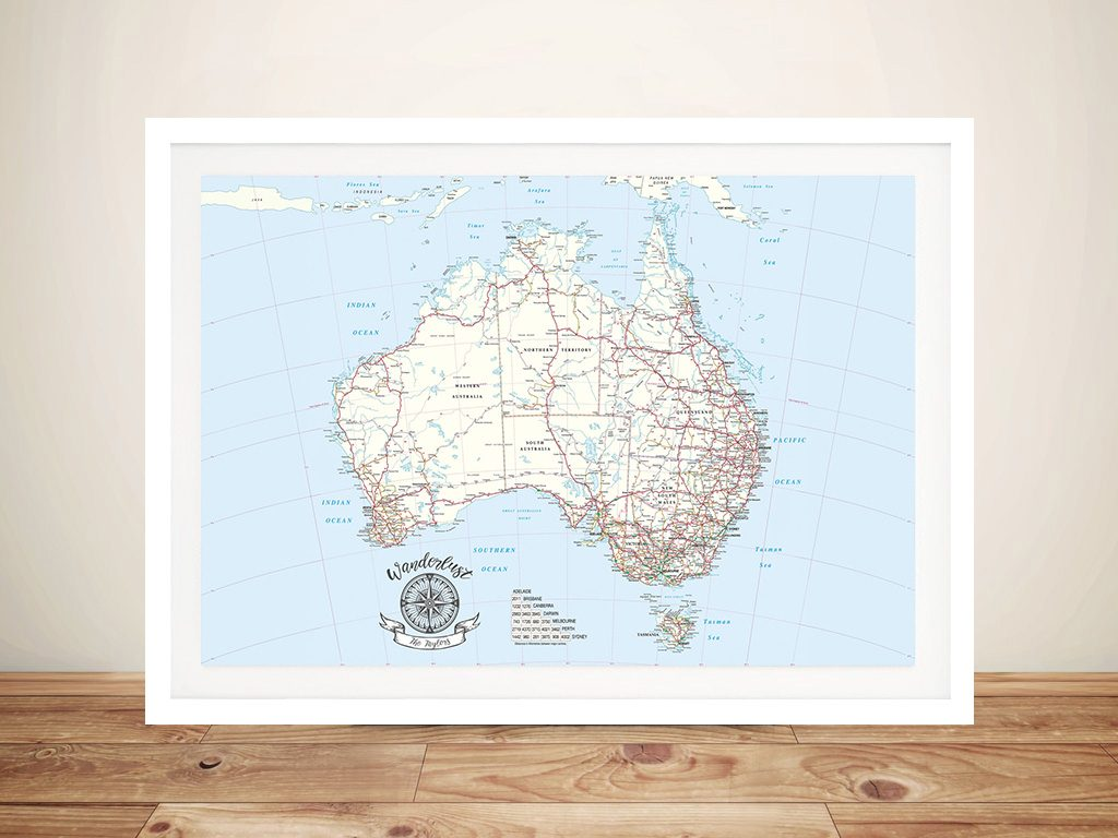 Australia Atlas Light Blue Pin Map