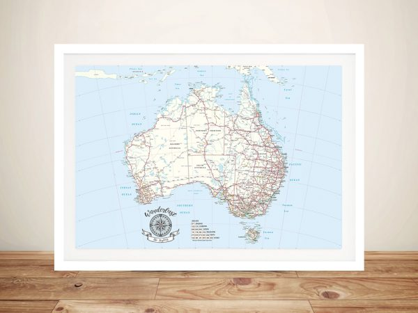 Personalised Australia Atlas Light Blue Pin Map Wall Art.