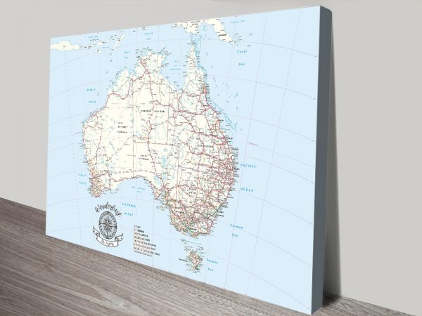 Australia Travel Map canvas Print with Pins