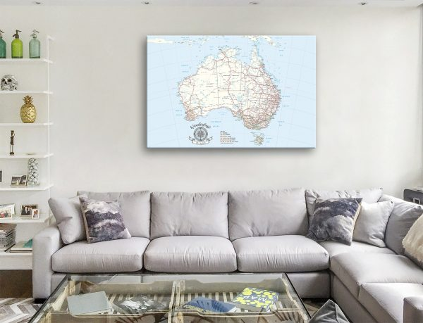 Australia Travel Map canvas Print Pinboard