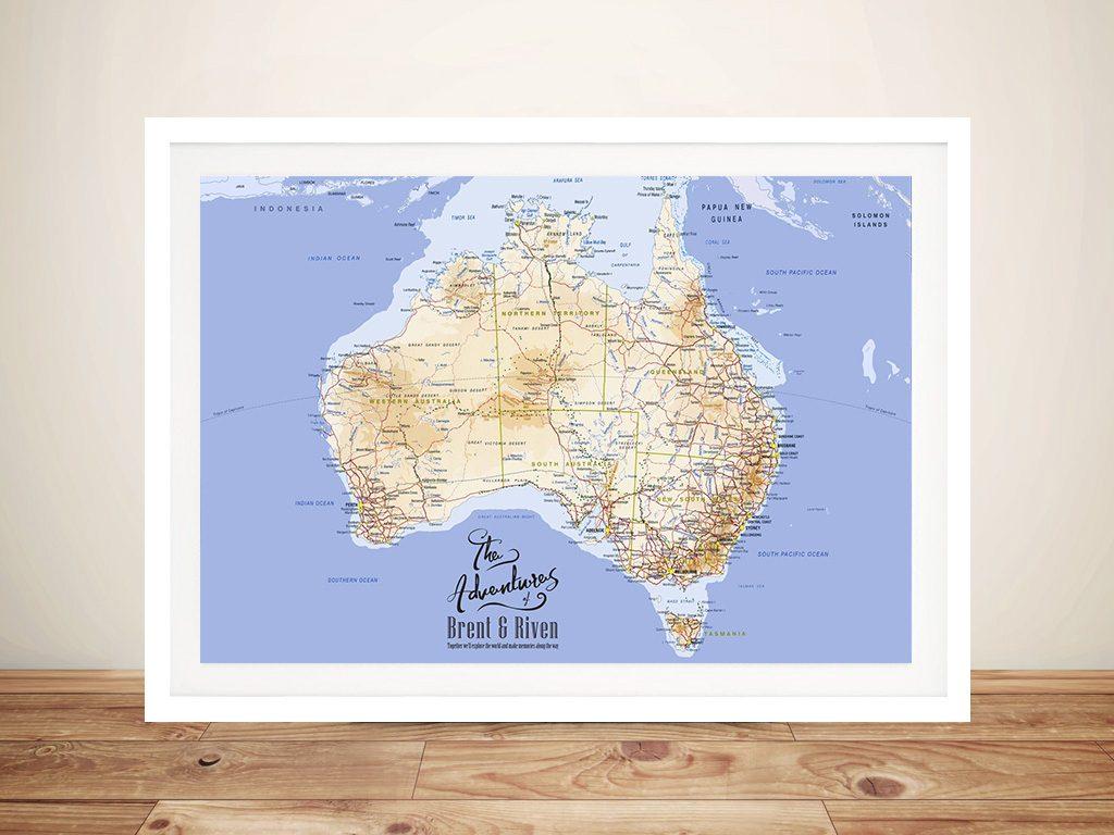 Australia Detailed Mid-Blue Push Pin Map – Rectangle