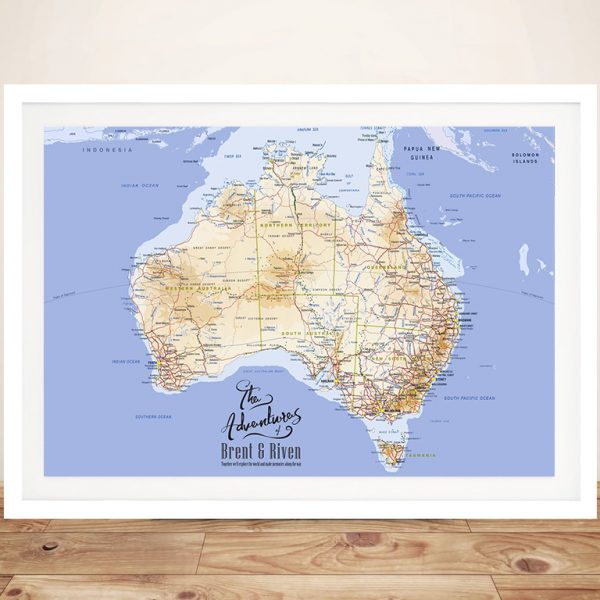 Personalised Australia Detailed Mid-Blue Push Pin Map
